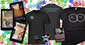 Queer Pack Giveaway: This is what you can win: Tshirts, ebooks, bottle openers and note books